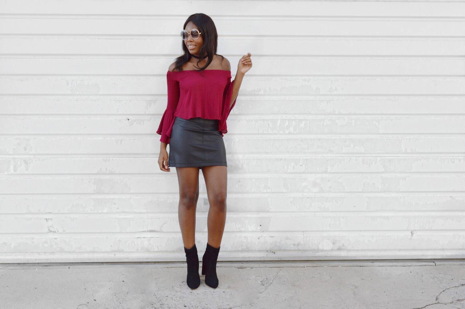 Burgundy Off the shoulder Bell Sleeve Top