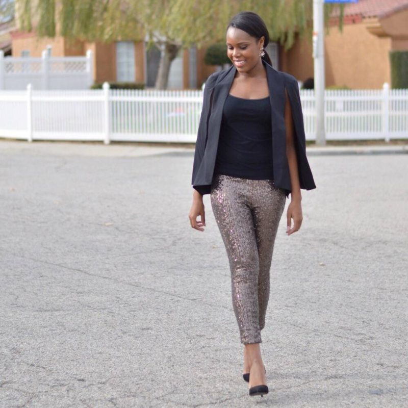Sequin Pants and Cape Blazer- Le Fab Chic