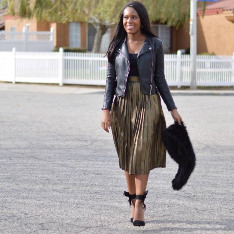 Metallic Skirt and Leather Jacket- Le Fab Chic