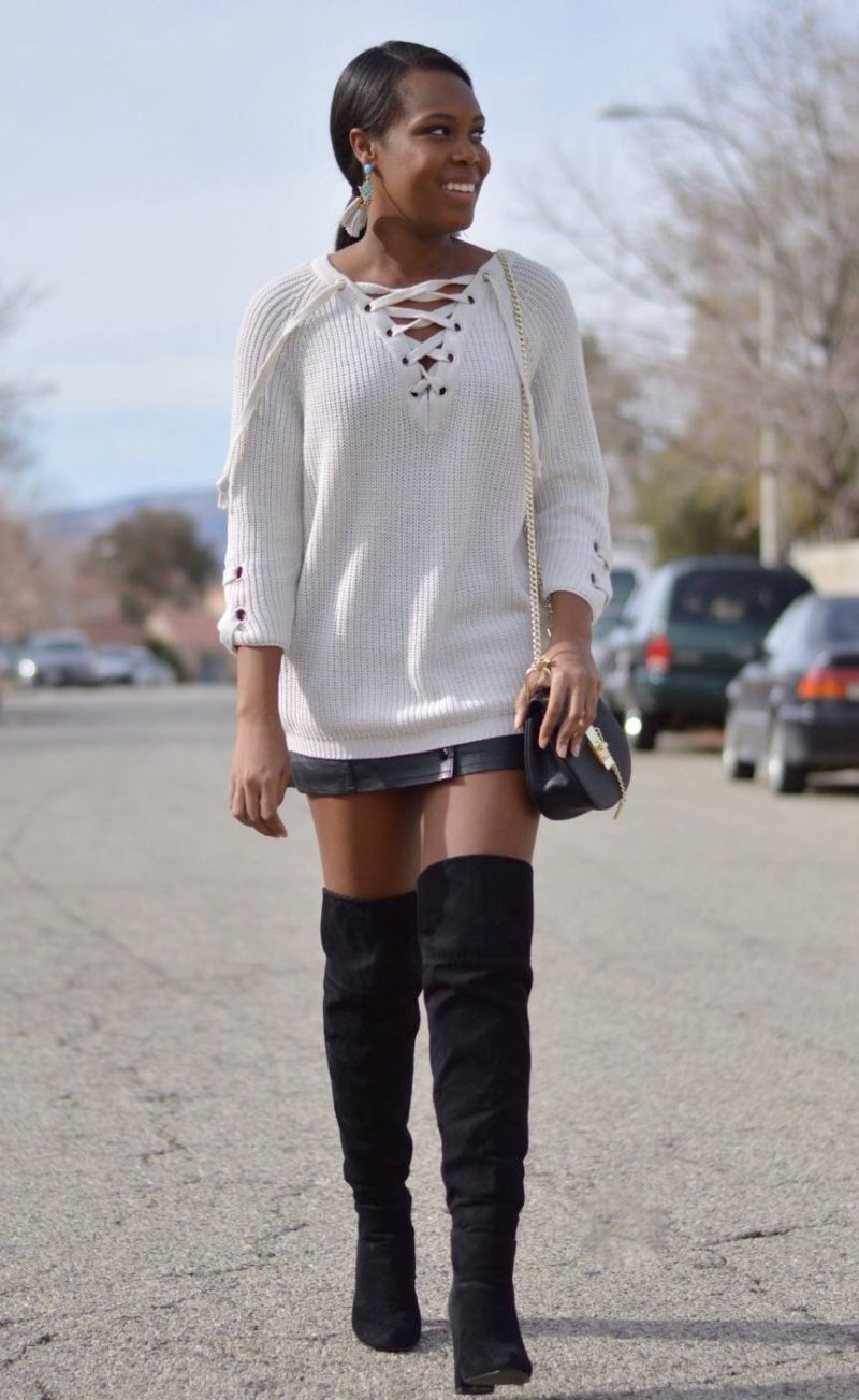 Lace Up Sweater Outfit- Le Fab Chic