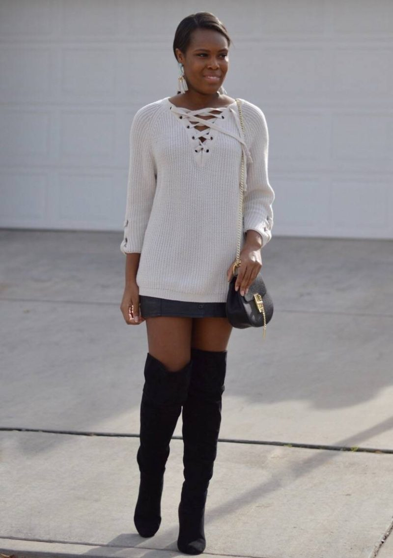 Lace Up Sweater Style- Le Fab Chic