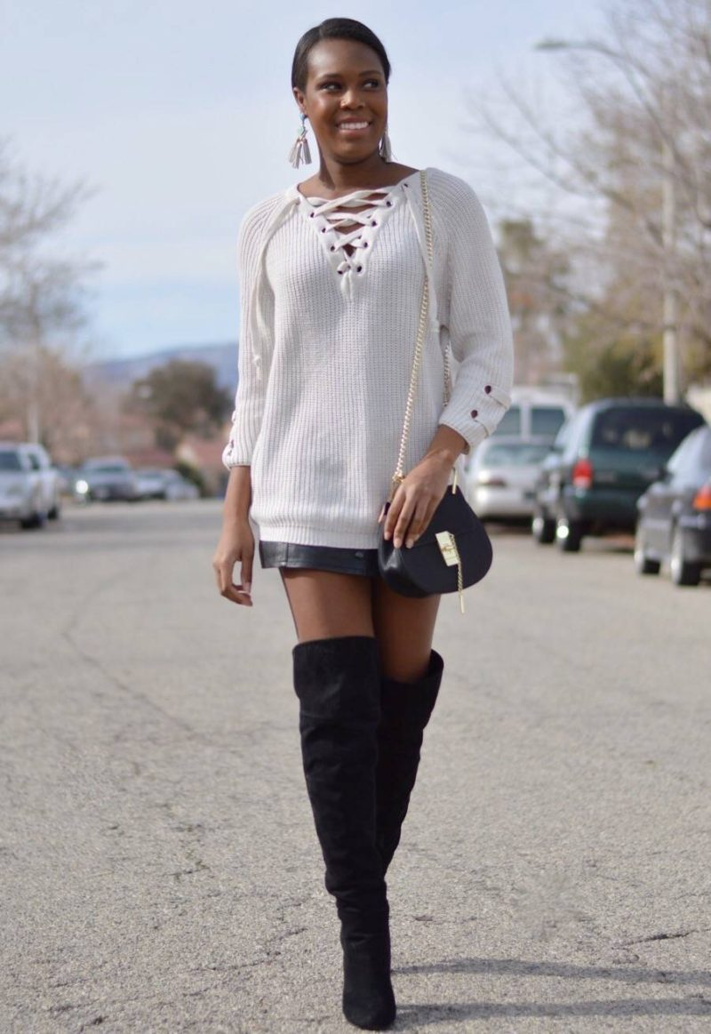 Lace Up Sweater- Le Fab Chic