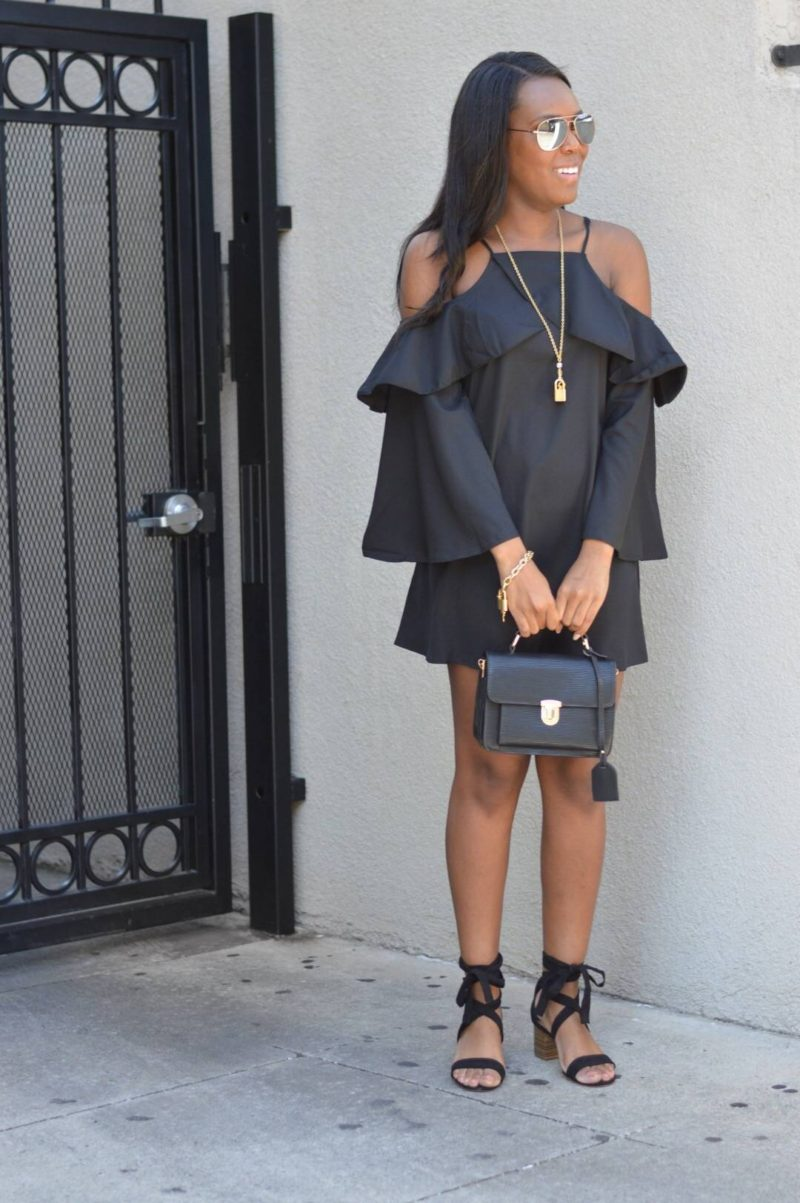 Ruffle Sleeve Little Black Dress