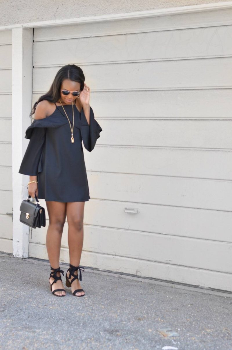 Cold Shoulder Little Black Dress- Le Fab Chic