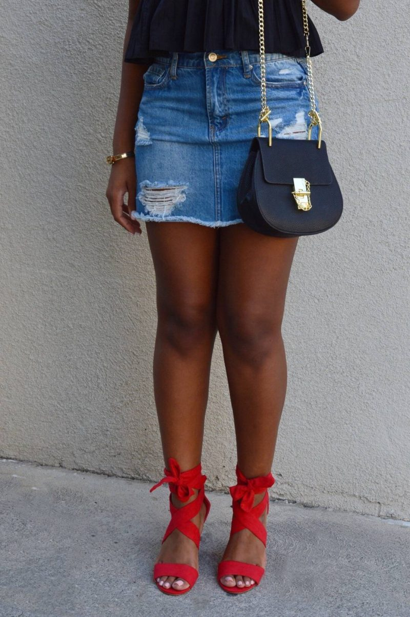 denim skirt style- Le Fab Chic