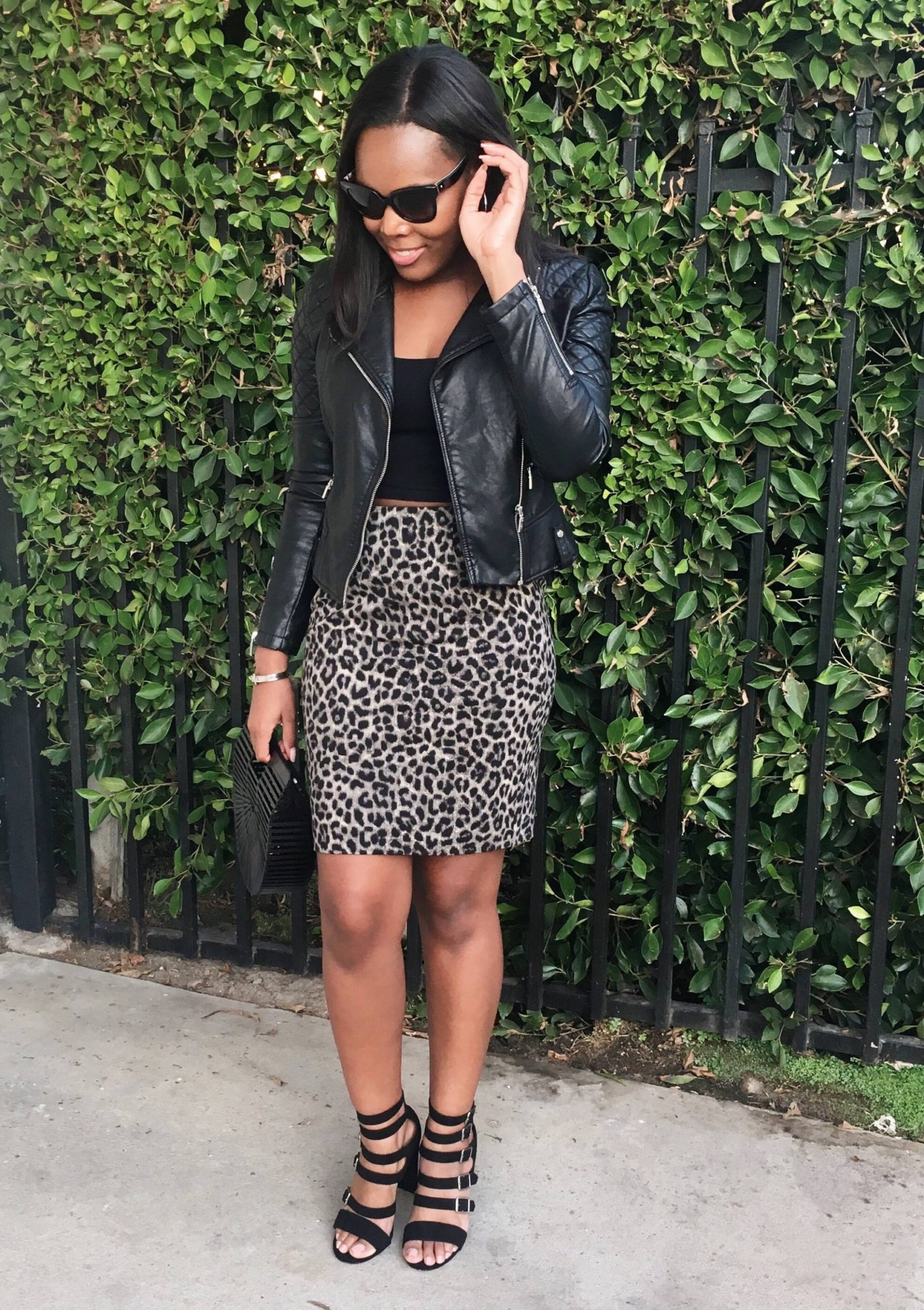 Leopard Print Skirt Outfit - Le Fab Chic