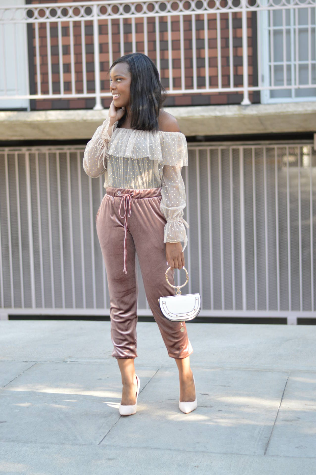 Velvet Joggers Outfit- Le Fab Chic