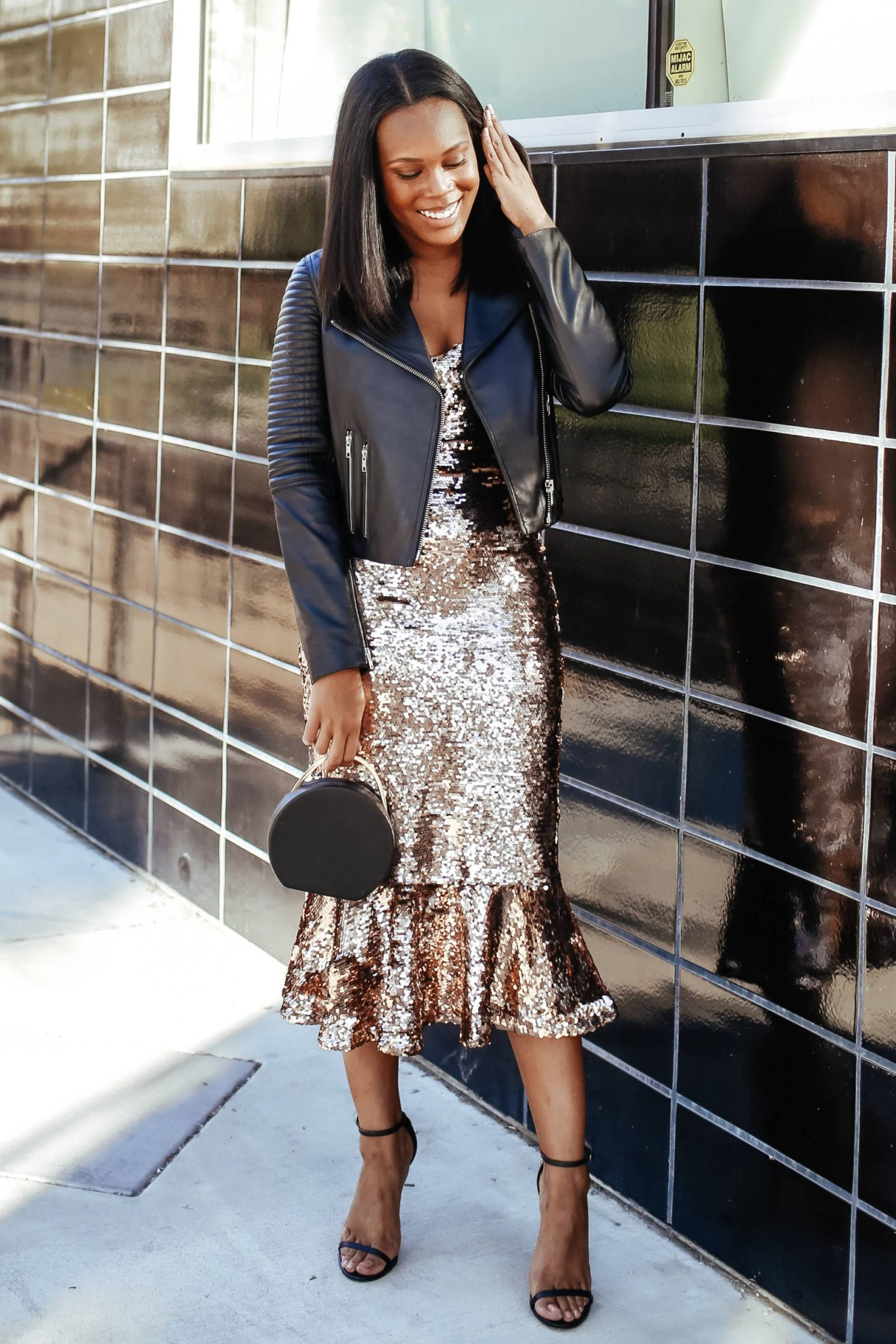How to Style a sequin dress casually -le fab chic