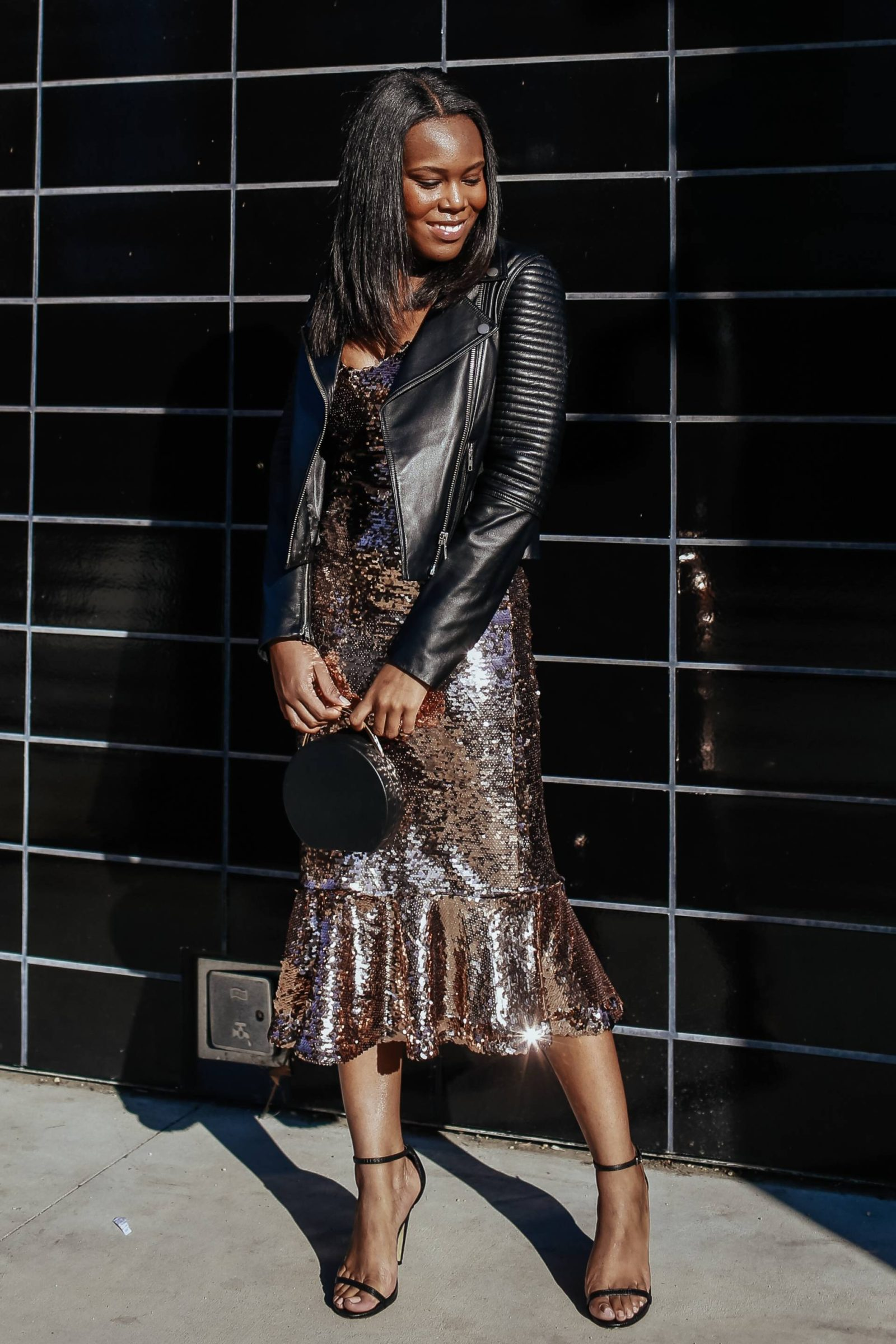 Sequin Dress with Leather Jacket -Le fab chic