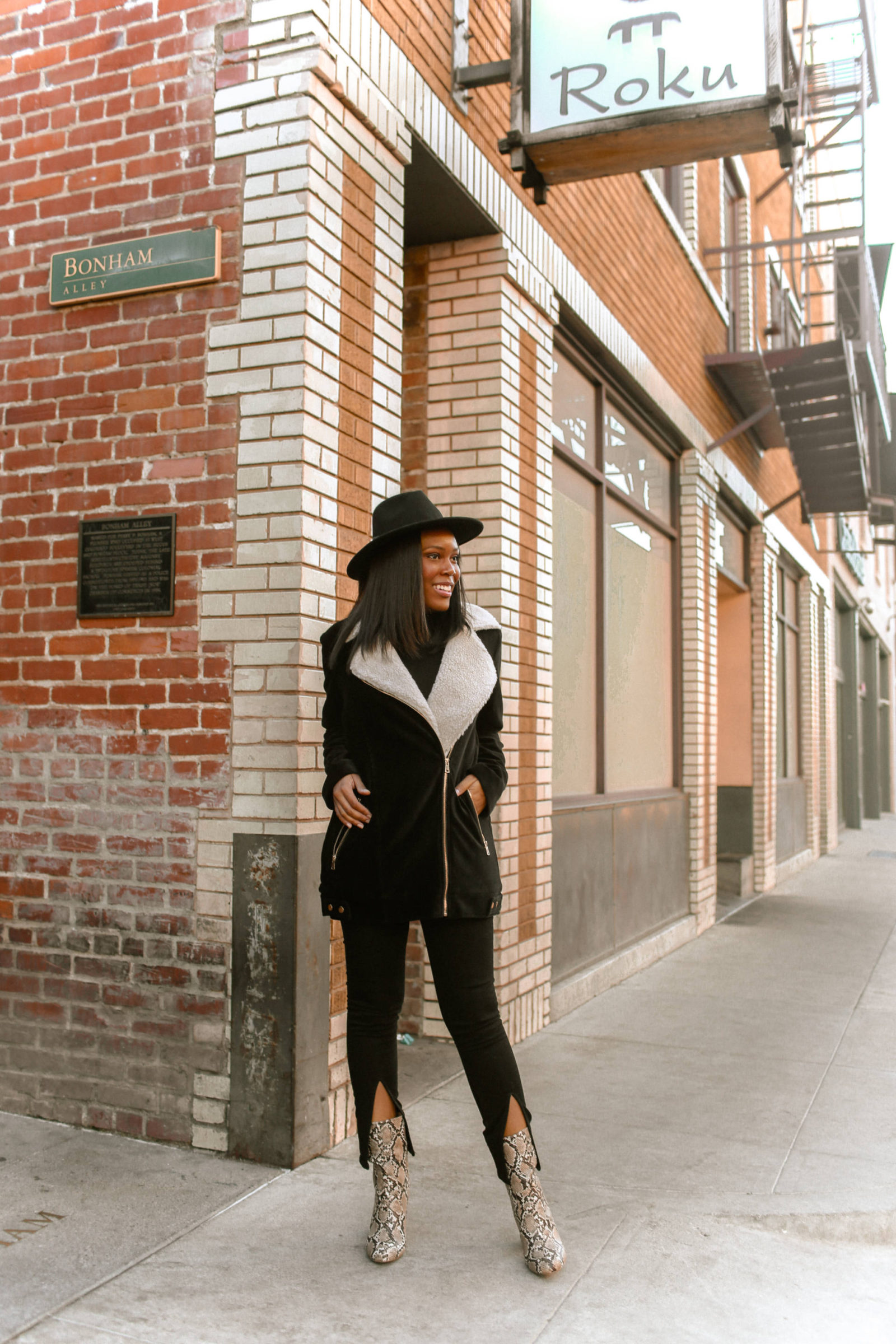 Snakesin Booties Outfit -Le Fab Chic