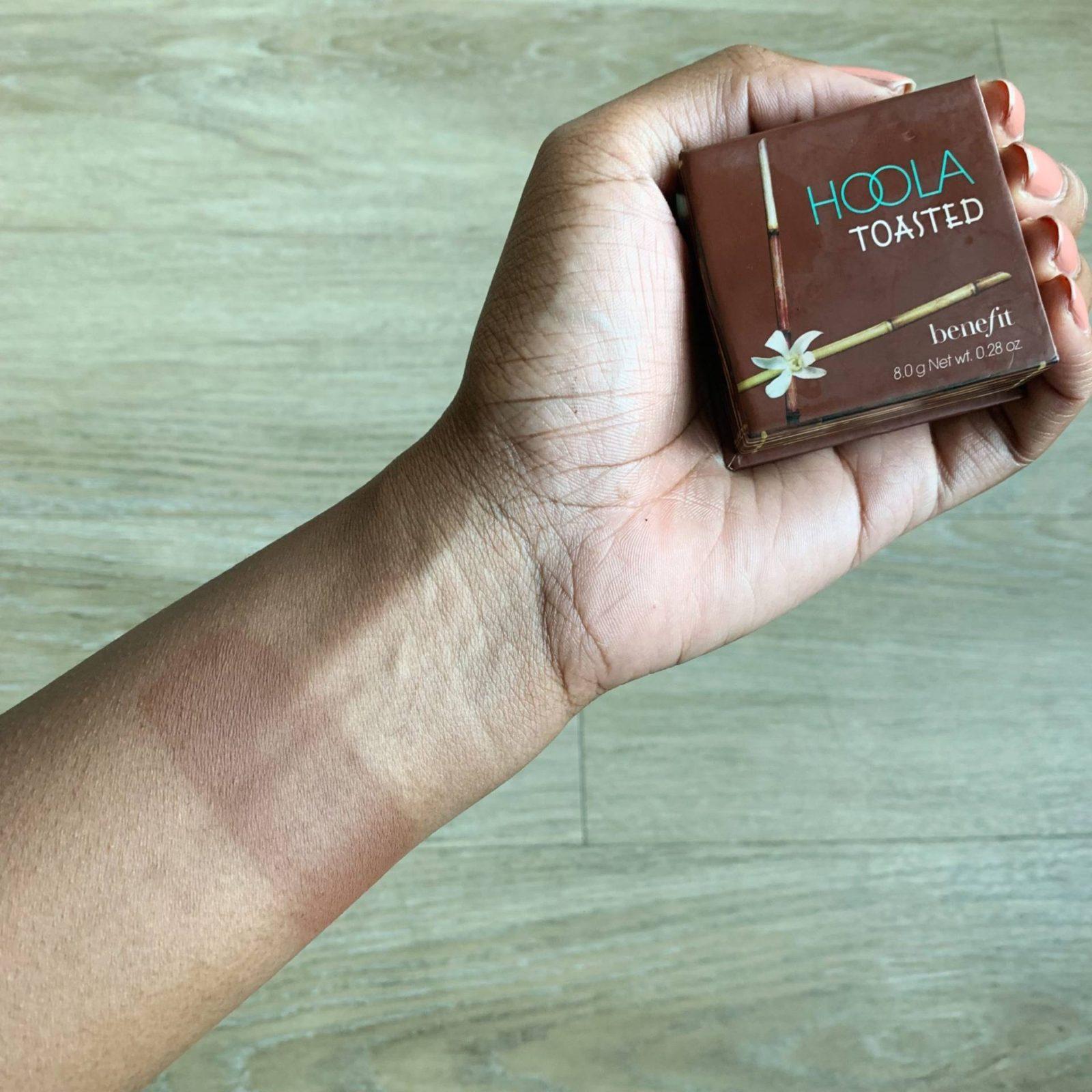 Hoola toasted swatch on dark skin - Le fab chic