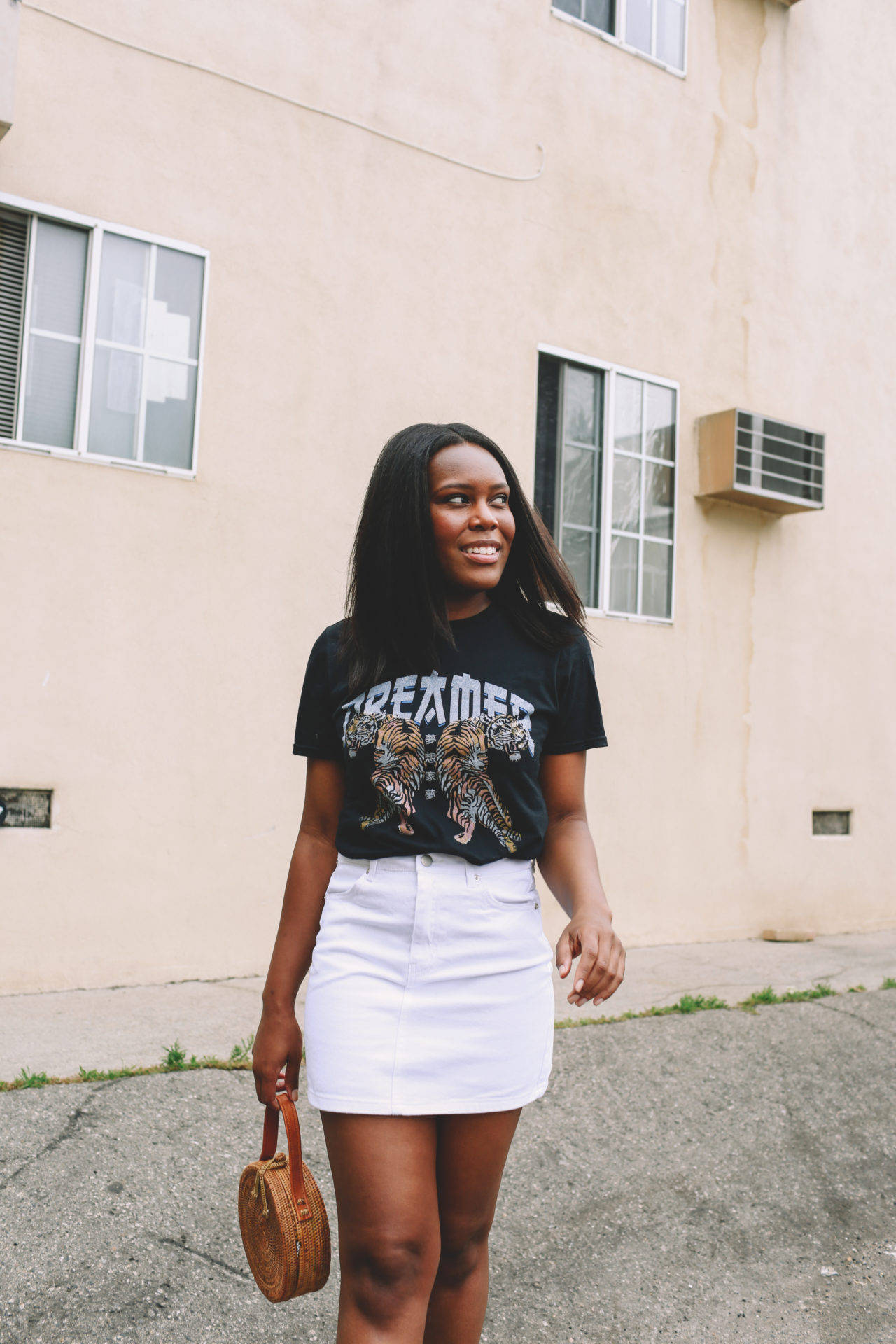 Graphic T-Shirt with Denim Skirt - Le Fab Chic