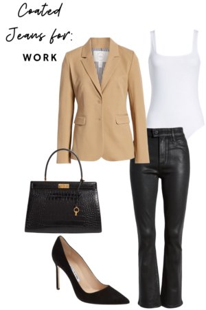How to Style Coated Denim For Work - Le Fab Chic - Style Board