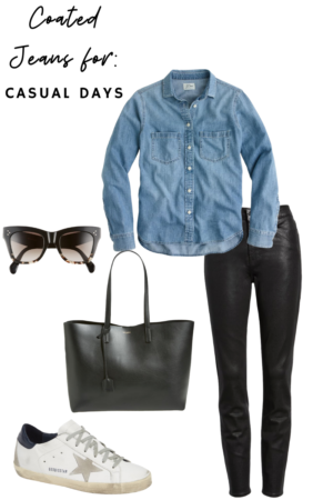 How to style coated denim casually - Le Fab Chic - Style Board